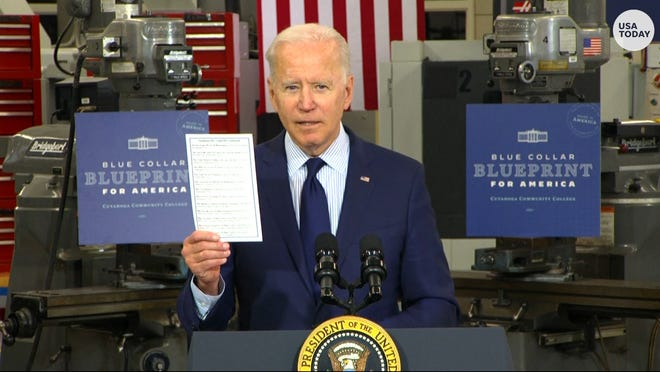 President Joe Biden discussed his the economy, jobs and infrastructure during remarks in Cleveland.