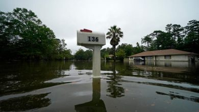 A flooded neighborhood is seen after Tropical Storm Claudette passed through in Slidell, La., Saturday, June 19, 2021.