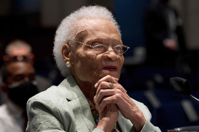 Viola Fletcher, the oldest living survivor of the Tulsa Race Massacre, testifies before the Civil Rights and Civil Liberties Subcommittee hearing on Capitol Hill in Washington, D.C., on May 19, 2021.