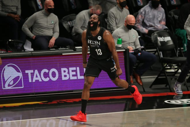Brooklyn Nets guard James Harden celebrates a basket during the Game 5 win against the Boston Celtics.