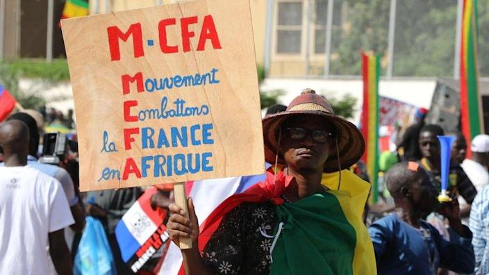 Several dozen Malian people stage a protest against France at the Independence Square during the 60th anniversary of Mali gaining independence from France in Bamako, Mali on September 22, 2020.