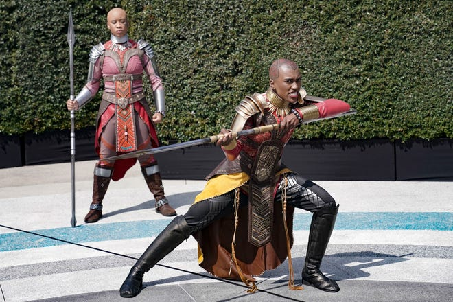 Okoye, leader of the Dora Milaje, leads Black Panther recruits.