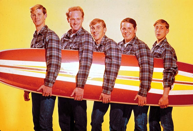 Beach Boys members Brian Wilson, left, Mike Love, Dennis Wilson, Carl Wilson and David Lee Marks, pictured in the early 1960s.