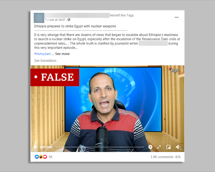 Facebook post accusing Ethiopia of planning nuclear attack against Egypt
