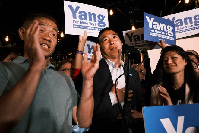 Mayoral candidate Andrew Yang greets supporters at a Manhattan hotel as he concedes in his campaign for mayor on June 22, 2021 in New York City.