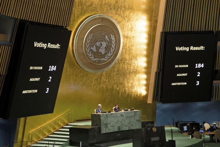 A photo provided by the United Nations shows the results of a vote during a meeting of the General Assembly on the necessity of ending the economic, commercial and financial embargo imposed by the United States against Cuba, at U.N. headquarters, June 23, 2021. / Credit: Eskinder Debebe/United Nations/AP