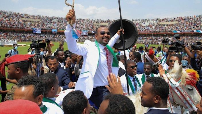 Ethiopian Prime Minister Abiy Ahmed attends his last campaign event ahead of Ethiopia's parliamentary and regional elections in Jimma, Ethiopia, 16 June 2021