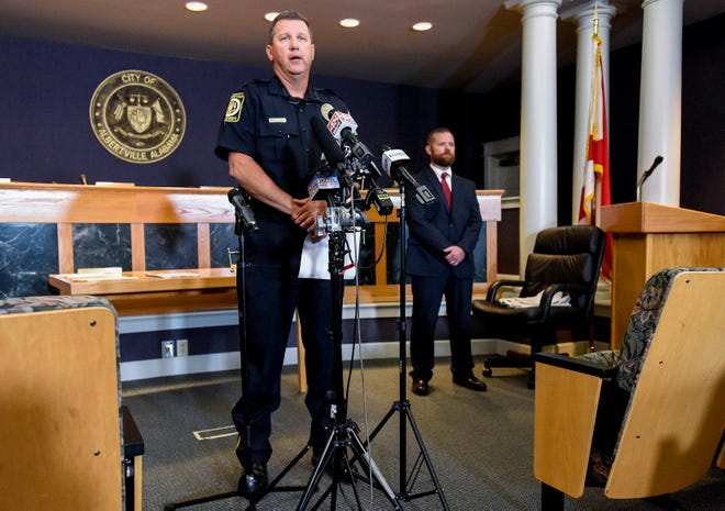 Albertville Police Chief Jamie Smith speaks during a news conference at city hall in Albertville, Ala., on Tuesday June 15, 2021. A fatal workplace shooting happened at the Mueller Co. in Albertville early Tuesday morning.