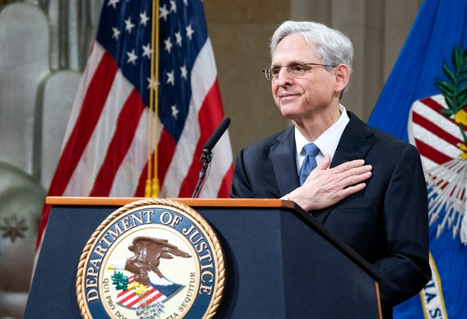Attorney General Merrick Garland addresses Justice Department staff on his first day March 11, 2021, in Washington.