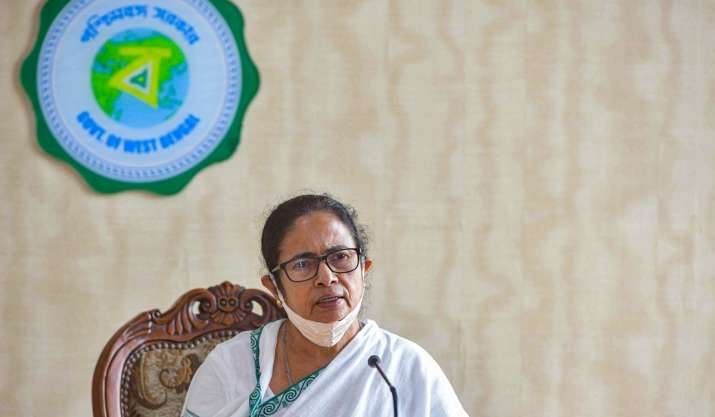 West Bengal CM Mamata Banerjee during a press conference,