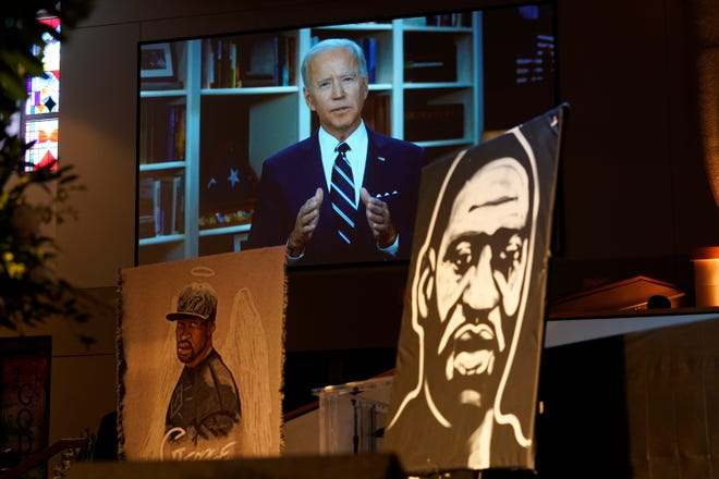 Former Vice President Joe Biden speaks via video link as family and guests attend the funeral service for George Floyd on June 9, 2020, in Houston.