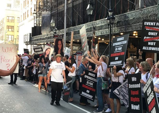 Anti-vaccine protesters outside the St James Theatre in New York City on Saturday, June 26, 2021.