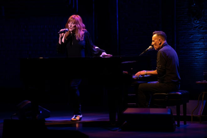 """Patti Scialfa and Bruce Springsteen in """"Springsteen on Broadway""""  June 26, 2021 at the St. James Theatre."""