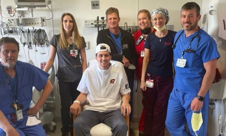 Central Michigan quarterback John Keller at home and on the mend from gunshot wound
