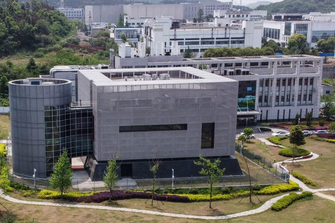 Aerial view of the P4 laboratory at the Wuhan Institute of Virology in Wuhan in China's central Hubei province on April 17, 2020.