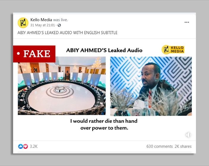Screengrab of Facebook post by Kello Media with the allegedly leaked audio