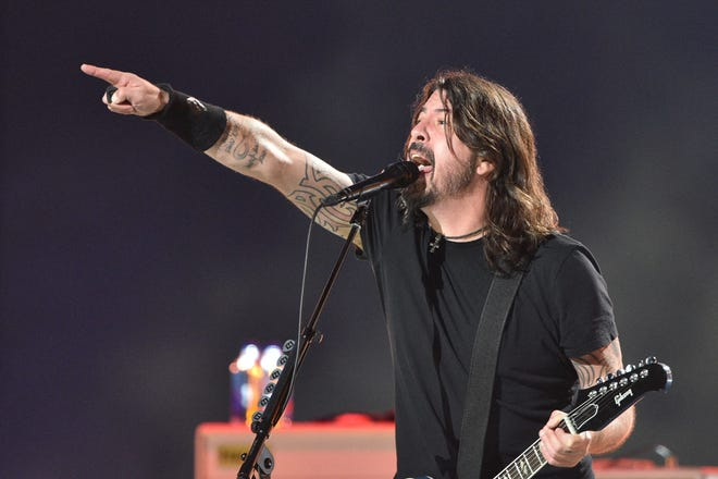 Dave Grohl of the Foo Fighters performs onstage during the taping of the 'Vax Live' fundraising concert at SoFi Stadium in Inglewood, Calif., on May 2, 2021.
