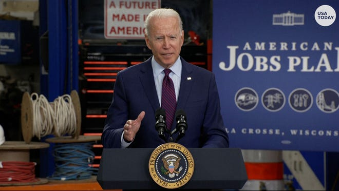 """President Biden called the infrastructure deal a """"generational investment"""" during a speech in Wisconsin."""