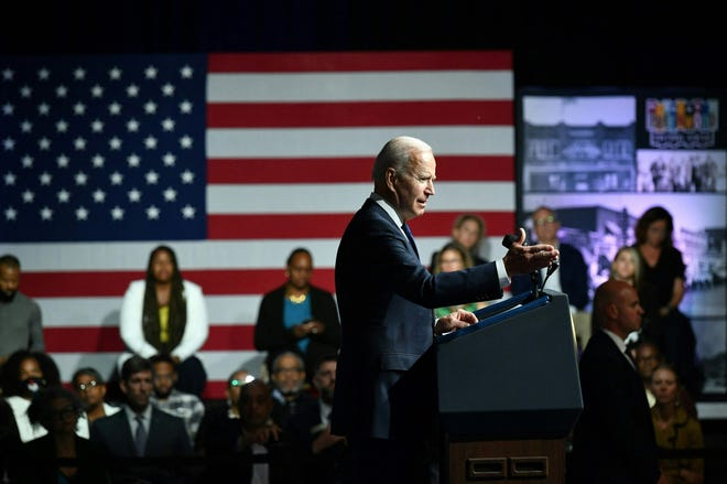 President Joe Biden delivers remarks to commemorate the 100th anniversary of the Tulsa Race Massacre at the Greenwood Cultural Center in Tulsa, Oklahoma, on June 1, 2021.