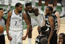 Brooklyn Nets forward Kevin Durant speaks with Milwaukee Bucks forward Khris Middleton after a hard foul on Bucks star Giannis Antetokounmpo during the fourth quarter of Game 6.