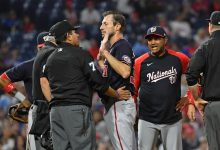 Nationals ace Max Scherzer and manager Dave Martinez discuss the pitcher's third check of the game for illegal substances by umpire Alfonso Marquez.