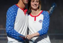 Ledecky posts for a photo with Michael Phelps at the 2016 U.S. Olympic swimming trials.