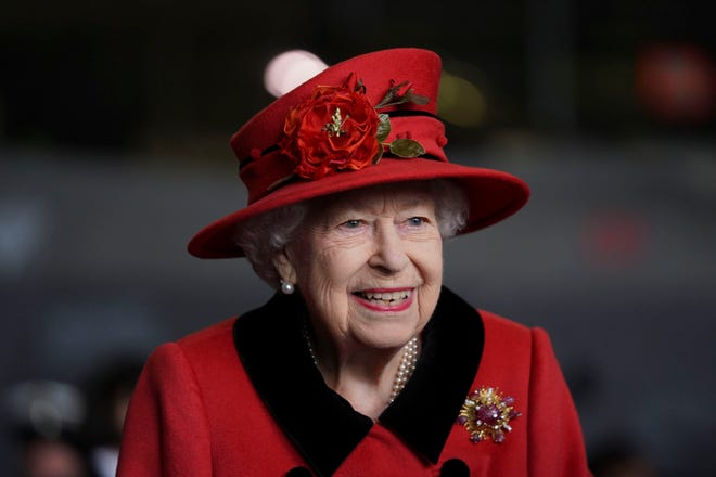 Queen Elizabeth II during a visit to HMS Queen Elizabeth ahead of the ship's maiden deployment on May 22, 2021, in Portsmouth, England.