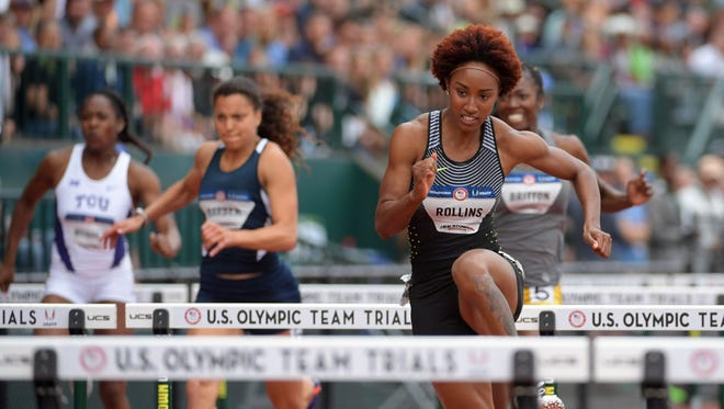Brianna Rollins competes during the women's 100 hurdles first round heats in the 2016 U.S. Olympic track and field team trials at Hayward Field.