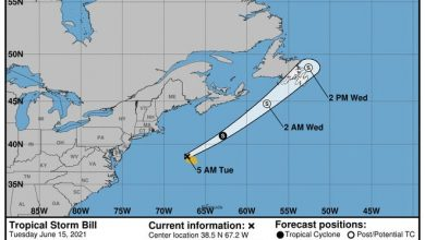 The projected path of Tropical Storm Bill as of 5 a.m. June 15, 2021.