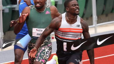 Trayvon Bromell, right, wins the Men's 100 meters ahead of  Noah Lyles  the USATF Grand Prix at Hayward Field.