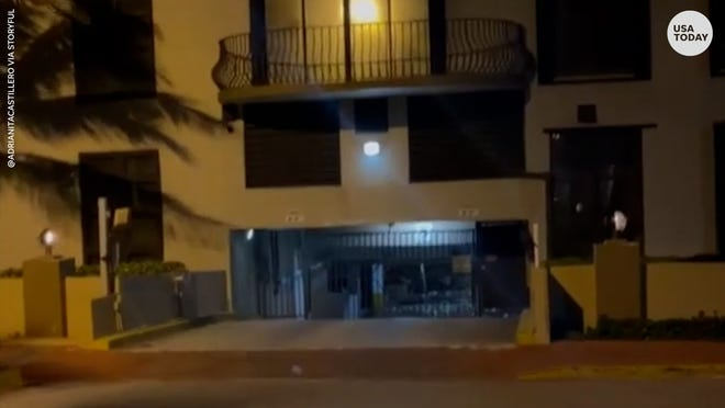 Water was seen spilling into the basement level garage of Champlain Towers South in Surfside, Florida minutes before its partial collapse on June 24.