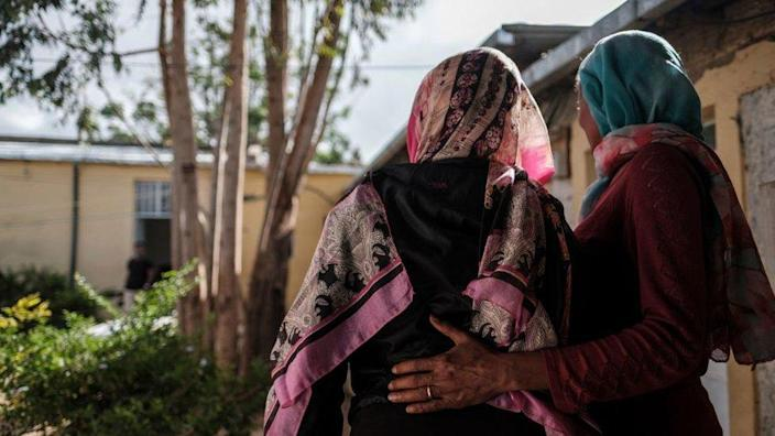Women at a centre for rape survivors - one says she was raped by Eritrean soldiers