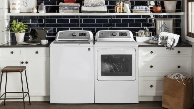 This GE top-loading washing machine is our favorite of its kind for its easy-to-use interface and high-capacity.