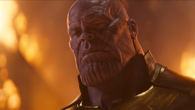 """Thanos (Josh Brolin) comes to Earth looking for Infinity Stones – and a fight – in """"Avengers: Infinity War."""""""