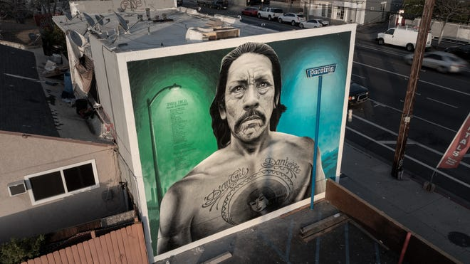 """The Danny Trejo Mural by artist Levi Ponce was first painted in 2011 and got a touch-up this March. """"It was time for an upgrade,"""" Ponce says of the mural located on Van Nuys Boulevard's Mural Mile in Pacoima, Calif."""