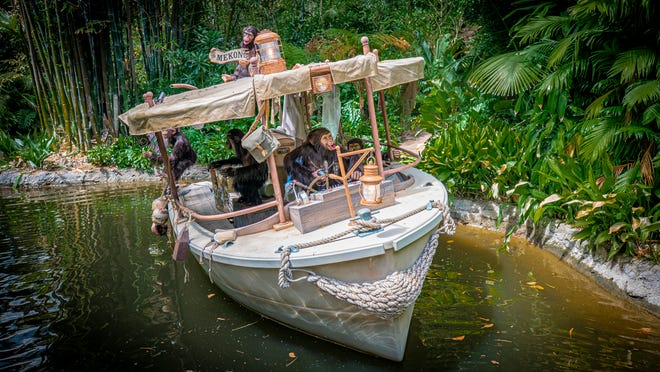 Chimpanzees have taken over the wrecked boat of a safari expedition on the Jungle Cruise at Disneyland Park.