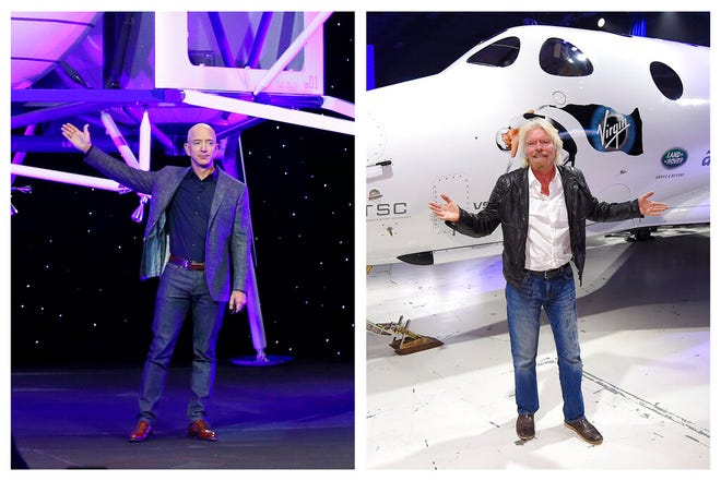 This combination of 2019 and 2016 file photos shows Jeff Bezos with a model of Blue Origin's Blue Moon lunar lander in Washington, left, and Richard Branson with Virgin Galactic's SpaceShipTwo space tourism rocket in Mojave, Calif. The two billionaires are putting everything on the line in July 2021 to ride their own rockets into space.