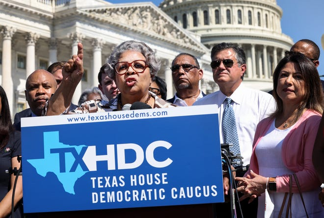 Texas House Democrats at a news conference on voting rights outside the U.S. Capitol on July 13, 2021 in Washington, D.C.