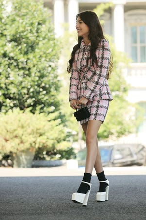 Pop music star and Disney actress Olivia Rodrigo arrives at the White House on July 14, 2021 in Washington, DC. Rodrigo is partnering with the White House to promote COVID-19 vaccination outreach to her young fans.