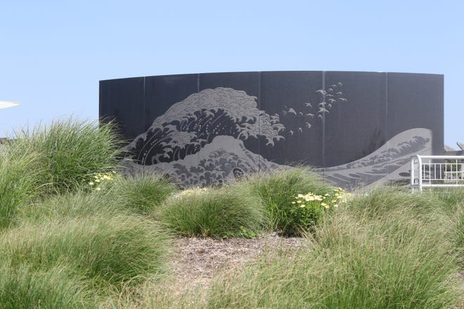 A memorial dedicated to those who died on TWA Flight 800 that crashed off the coast of Long Island on July 17, 1996. The memorial is located at Smith Point State Park in New York, a beach near the site of the crash site.