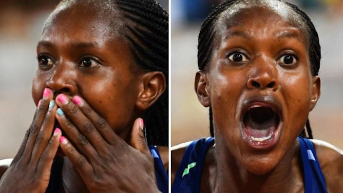 A composite image of an athlete reacting in disbelief to winning a race.