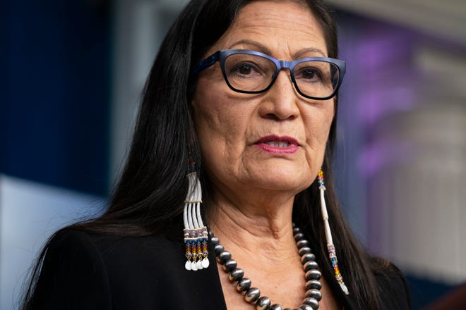 Interior Secretary Deb Haaland speaks during a news briefing at the White House in Washington. Many Native American activists say they know the Laguna Pueblo native has a mandate to serve all constituents, but they hope her sensitivity to Indigenous issues will help their efforts to preserve sacred land and grow economic opportunity.