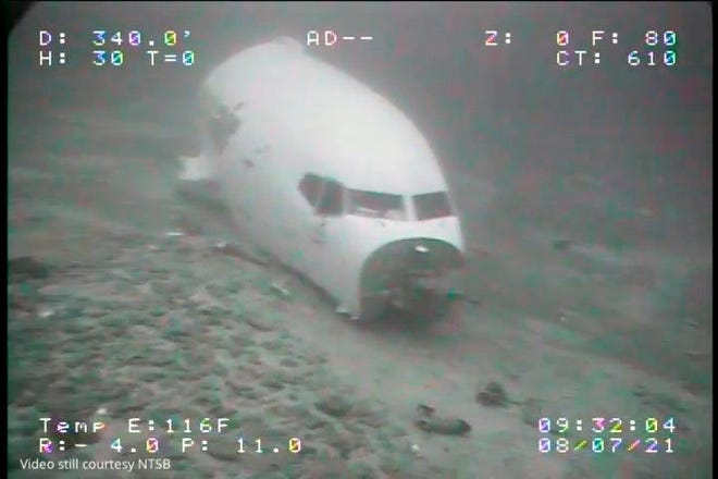 The jet cabin from Transair Flight 810 rests on the Pacific Ocean floor off the coast of Honolulu.