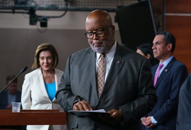 Rep. Bennie Thompson, chairman of the House Homeland Security Committee, flanked by Speaker of the House Nancy Pelosi, D-Calif., and Rep. Pete Aguilar, D-Calif., finishes his remarks as Pelosi announces her appointments to a new select committee to investigate the violent Jan. 6 insurrection at the Capitol, on Capitol Hill in Washington, D.C.