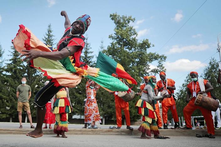 A dancer from Benin performs at the 6th CIOFF World Folkloriada (Folklore Festival) in the city of Ufa, Bashkortostan, Russia.