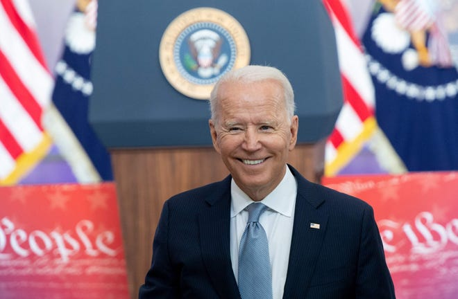 President Joe Biden after speaking about voting rights at the National Constitution Center in Philadelphia on July 13, 2021.