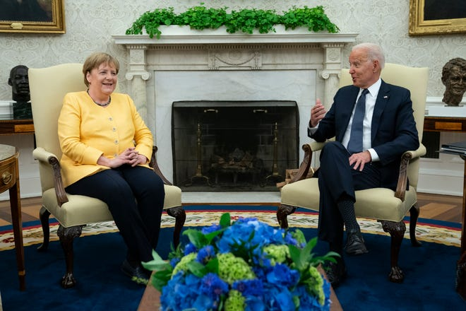 President Joe Biden meets with German Chancellor Angela Merkel in the Oval Office of the White House on Thursday.