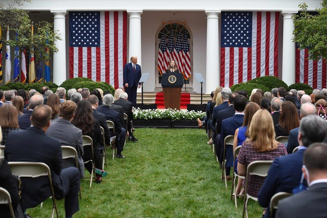 Supreme Court nominee Amy Coney Barrett and President Donald Trump on Sept.26, 2020, in the Rose Garden of the White House.