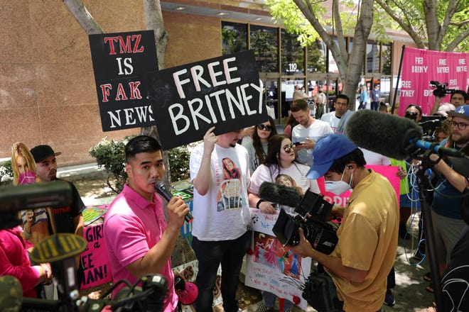 #FreeBritney activists protest at Los Angeles Grand Park during a conservatorship hearing for Britney Spears on June 23, 2021, in Los Angeles.