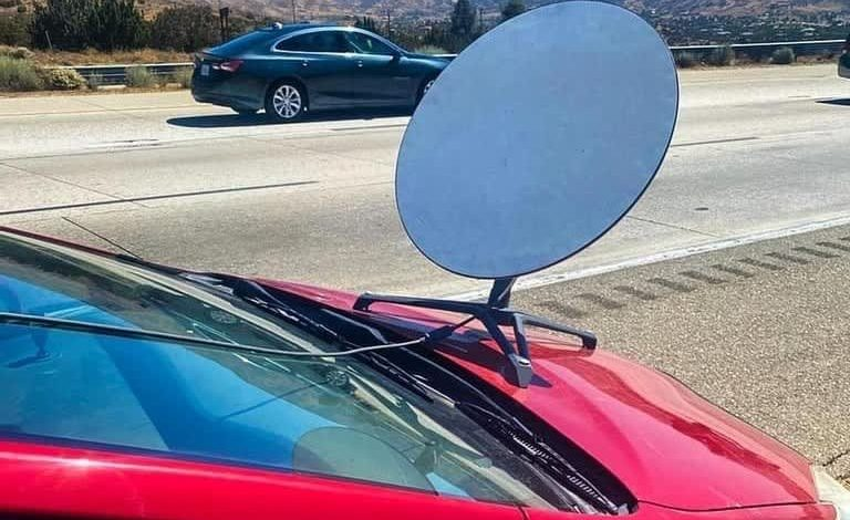 CHP tickets driver with apparent SpaceX Starlink dish on hood
